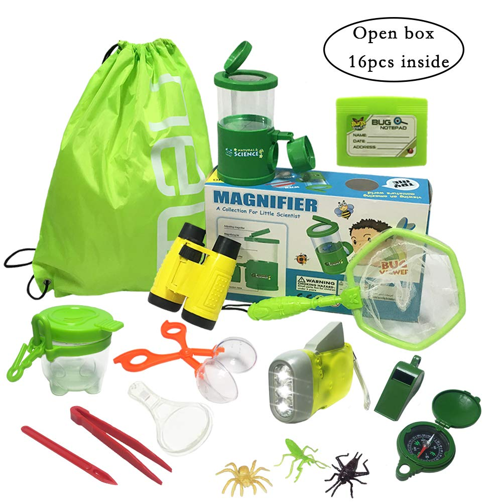 JOLLY SWEETS Outdoor Exploration Kit 16 Pcs Set, Kids-Nature Adventure Toys Bug Kit, Backpack, Butterfly Net Catcher, Bug Catcher, Bug Viewer with Magnifier, Binoculars,Boy and Girl Explorer Kit. by JOLLY SWEETS