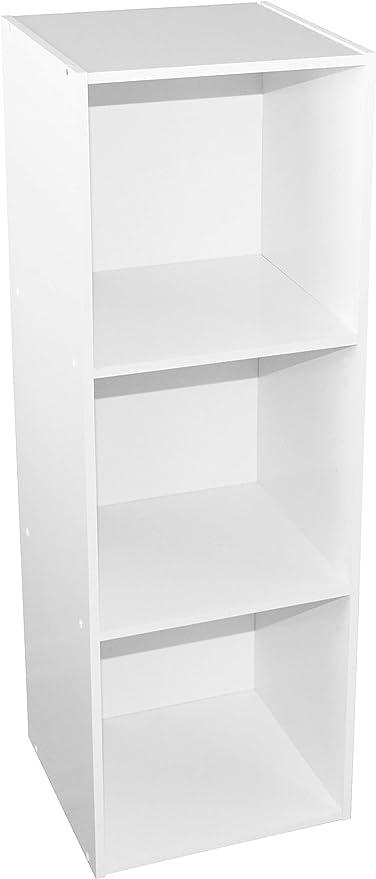 Alsakaz - Estantería Modular (3 Cubos, 34,9 x 33,7 x 102,5 cm), Color Blanco