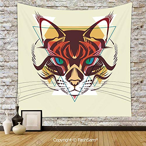 FashSam Tapestry Wall Hanging Cat Portrait with Funk Color Effects Cute Kitty Whiskers Pet Feline Zoo Meow Graphic Decorative Tapestries Dorm Living Room Bedroom(W39xL59)]()
