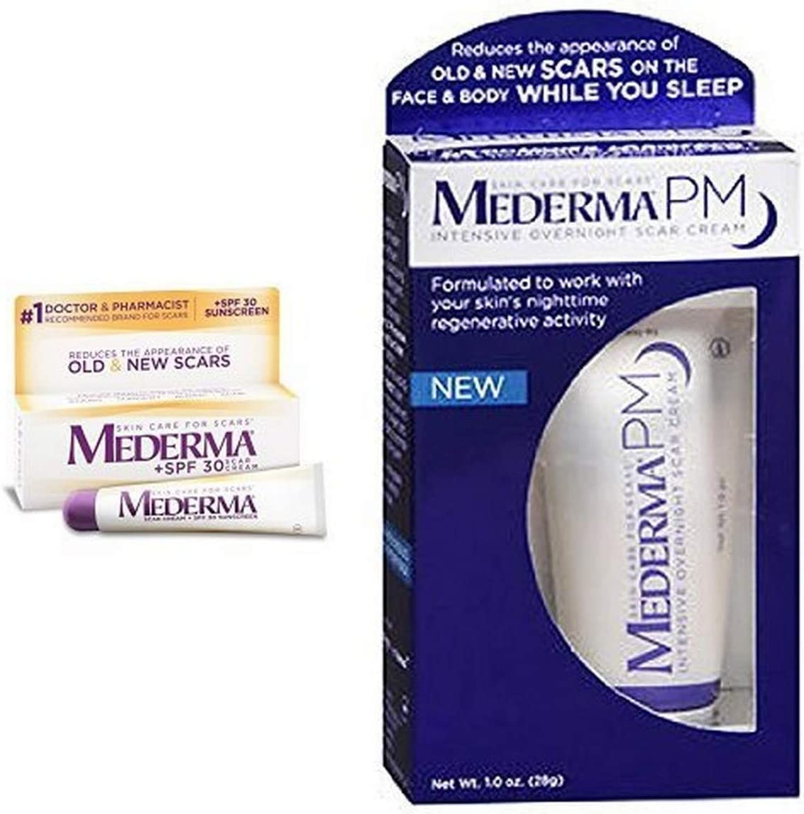 Amazon Com Mederma Scar Cream Plus With Pm Intensive Overnight Scar Cream Health Personal Care