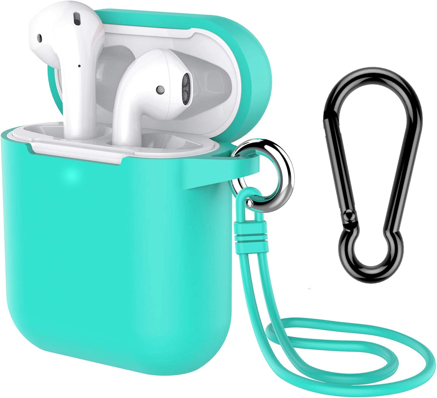 AirPods Case with Keychain, Coffea Silicone Protective Case with Stap for AirPods 2 & 1 [Front LED Visible] (Green)