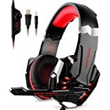 Kotion Each G9000 Over Ear Gaming Headphones with Mic and LED-compatible with PC, iPad, iPhone, Tablets, Mobile Phones (Black/Red)