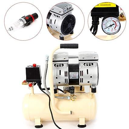 Z&Y Compresor de aire 8L Silencioso Sin aceite Mantenimiento Compresor silencioso Aire comprimido 550W