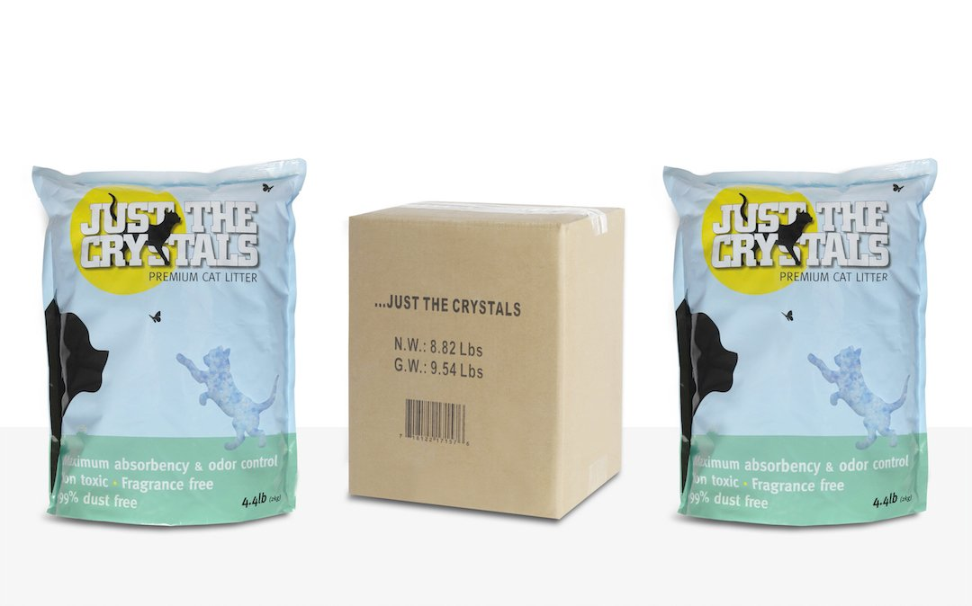 Just the Crystals 2-Pack. Longest Lasting Premium Crystal Cat Litter Absorbs More, Fragrance Free, Best Odor Control. Two 4.4lb Bags per Box (Total 8.8lbs) for Ultimate Convenience.