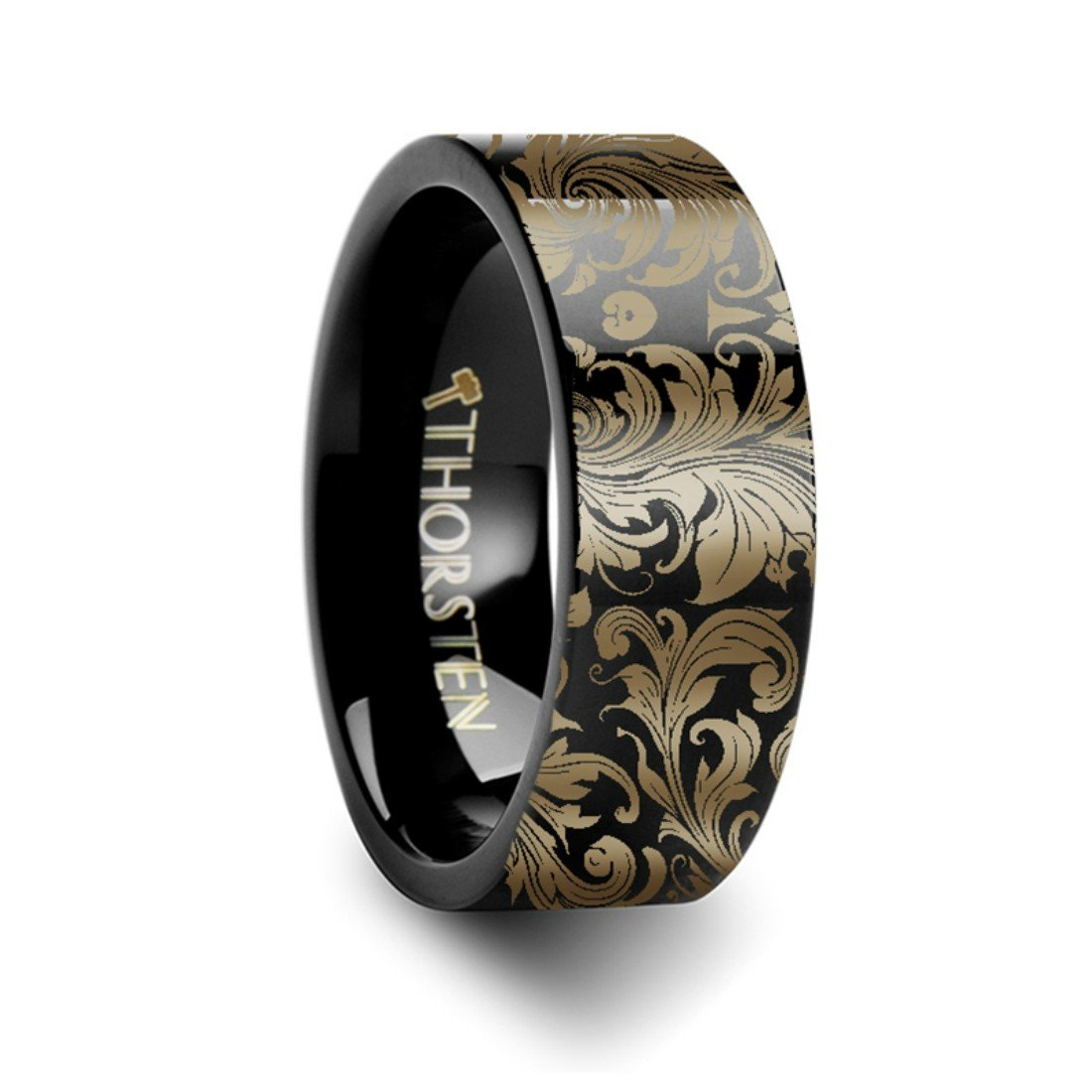 Thorsten Filigree Floral Leaf Design Print Pattern Ring Flat Black Tungsten Ring 10mm Wide Wedding Band from Roy Rose Jewelry