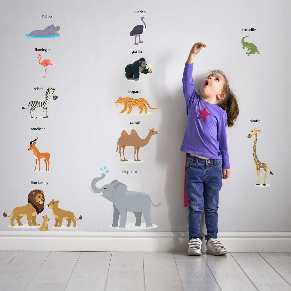 WEWINLE Cartoon Animals Wall Stickers DIY Children Mural Decals for Kids Rooms Baby Bedroom Home Wall Decor Sticker (Wild Animal Name)