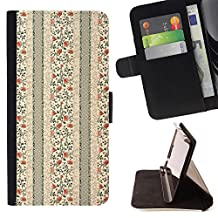 BINGO - FOR Apple iPod Touch 6 6th Generation - Half patterned cream flowered piece - Leather Cover Case High Impact Absorption Case