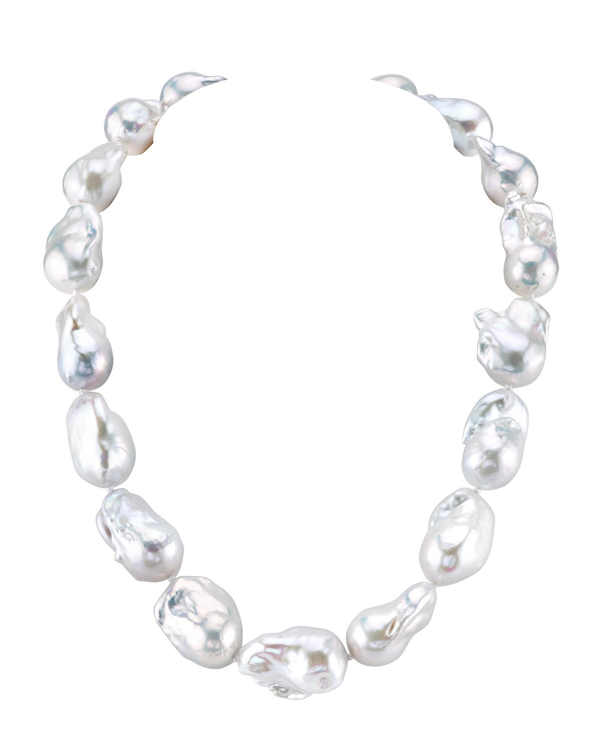 THE PEARL SOURCE Baroque Shaped 14-17mm White Freshwater Cultured Pearl Necklace for Women in 36'' Opera Length