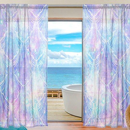 Vantaso Sheer Curtains 84 inch Long Colorful Light Mermaid for Kids Girls Bedroom Living Room Window Decorative 2 Panels by Vantaso