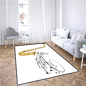 Music Living Room Area Rugs Illustration of Fancy Old Saxophone with Template Solo Vibes Art Print Design Non-Slip Backing (5'x7') Golden Black White