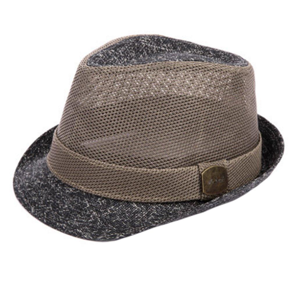 ファッショナブルFedora Hat Straw HatメッシュSunhatジャズハットキャップ、グレー   B01F59M48G