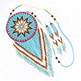 VivaTurquoise Blue Seed Beaded Star 5 Inch Medallion Beadwork Necklace Earrings Set 6-122