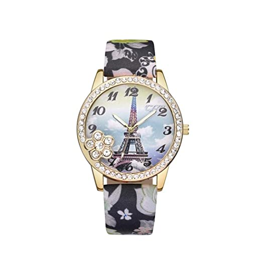Amazon.com: Clearance Sale! Wrist Watches for Girls, Iuhan Women Ladies Eiffel Tower Pattern Wrist Watch Metal Flower Causal Quartz Analog Wrist Watches ...