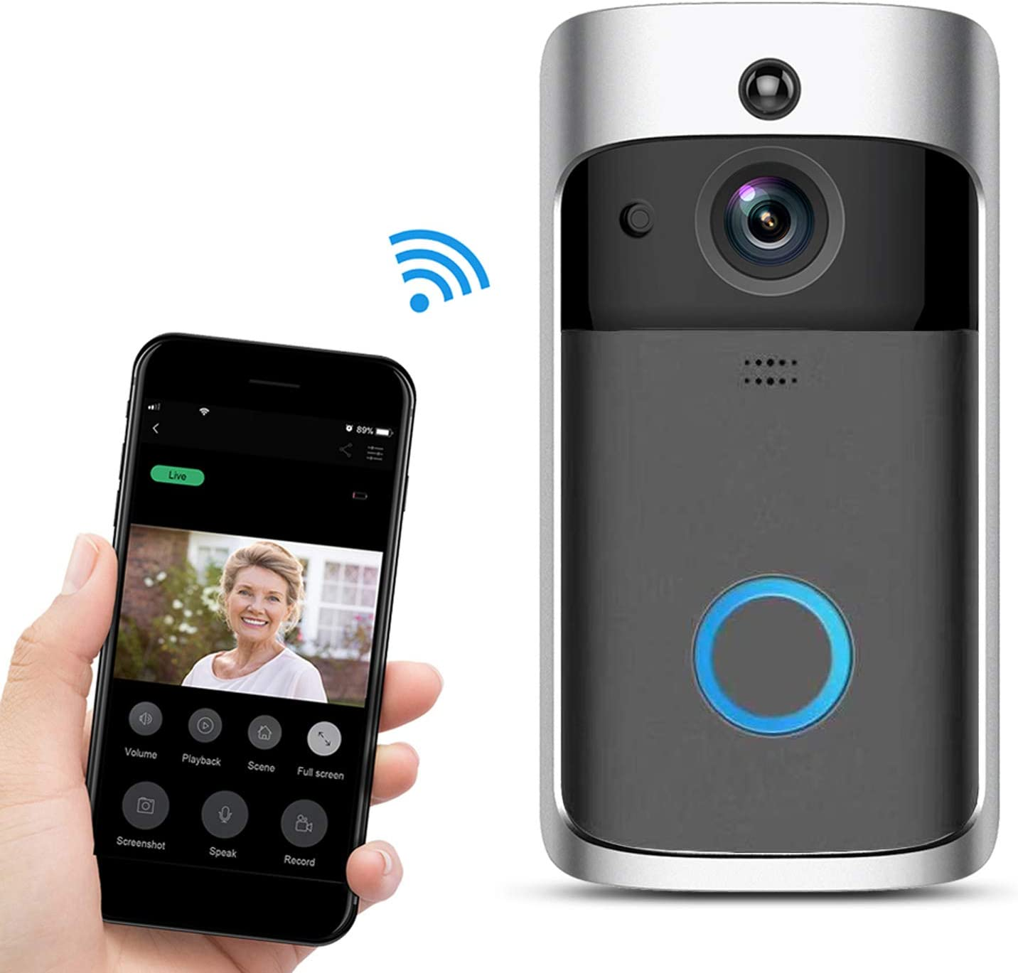 Home Ring Bell Video Doorbell, 720p HD Real-Time Video Call WiFi Wireless Connect Outdoor Security Camera with Two-Way Talk,Night Vision,IR Alarm, 18650 Rechargeable Battery not Included (Black)
