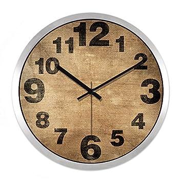 BYLE Creativo, minimalista y elegante salón moderno Reloj digital de cuarzo Mute Decoracion de pared Reloj de pared, 12 pulgadas ,Ch257 Black-Silver Metal ...