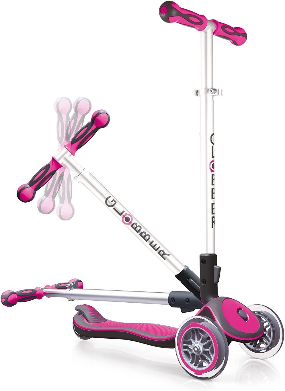 Globber Elite 3 Wheel Folding Adjustable Height Scooter Pink