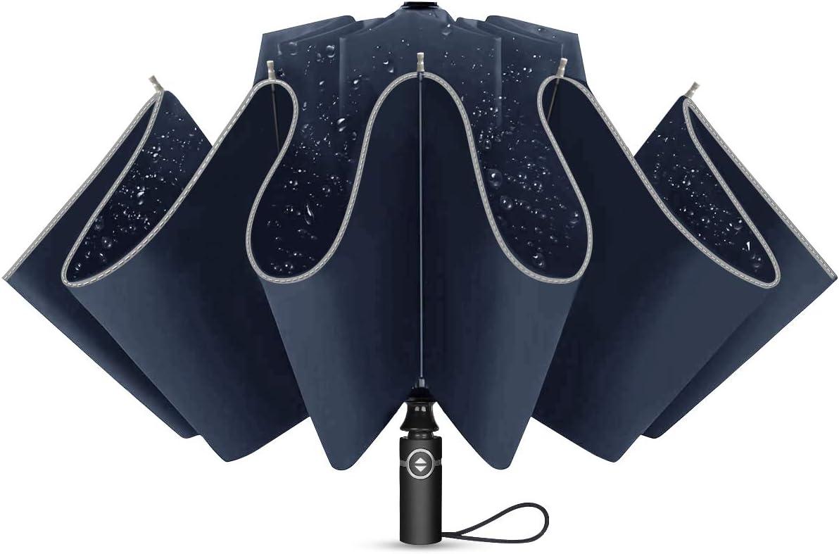YUECHAO Paraguas Plegable con Apertura y Cierre Automático Compacto y Ligero a Prueba de Viento y Agua Anti UV Durable Paraguas de Viaje
