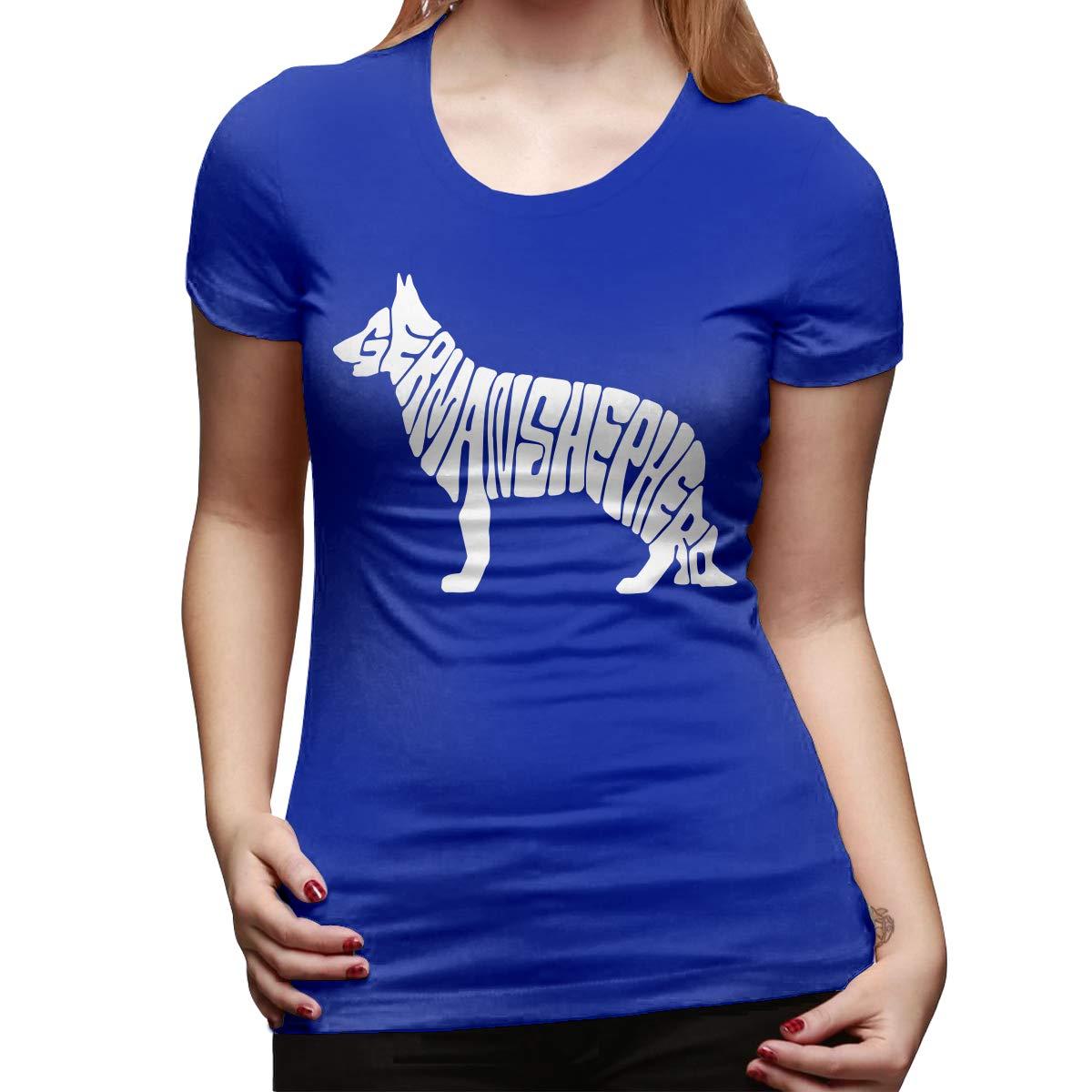 DFGHJZH-L German Shepherd Womens Funny Short Sleeve T-Shirt