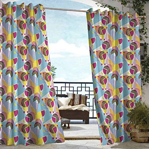 S Brave Sky Pastel Outdoor Curtain Waterproof Geometric Elements Memphis in The Style of 80s Funky Pop Triangles Circles and Dots Outdoor Curtain for Patio Furniture Multicolor (Furniture Patio Memphis)