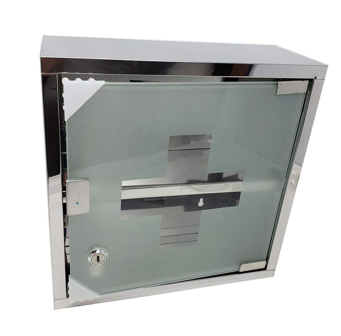 aaco Medicine Cabinet Lockable 2-Tier First Aid Wall Mounted Cabinet, Steel, Chrome 12'' x 12'' x 5''.