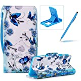 Strap Leather Case for Sony Xperia XZ2 Compact,Flip Portable Carrying Case for Sony Xperia XZ2 Compact,Herzzer Premium Stylish Colorful Printed Foldable Full Body Folio Pu Leather Stand Cover with Card Slots