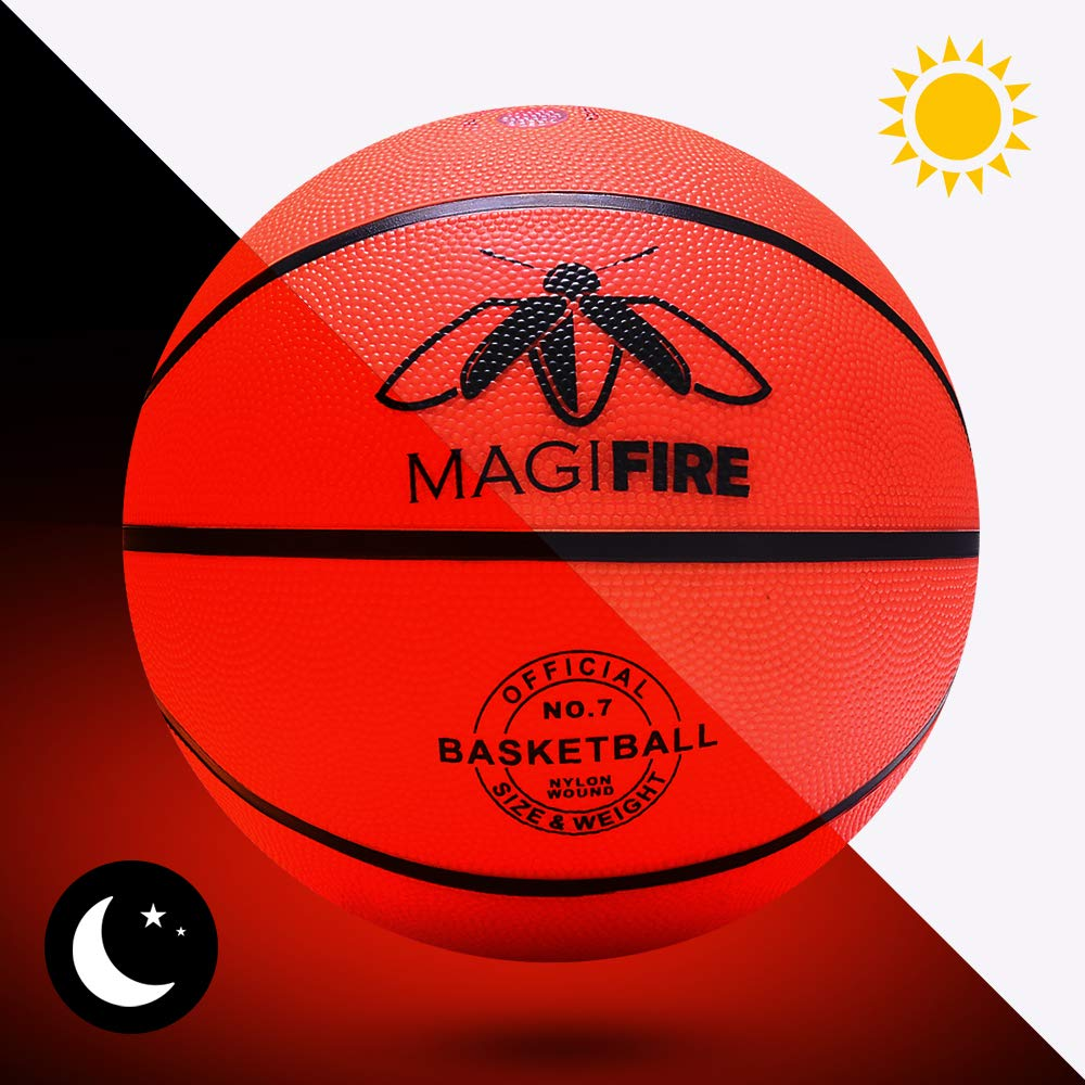 Magifire Led Basketball Light Up Basketball with Two Bright LED Glow in The Dark Led Light Basketball 7 Official Size