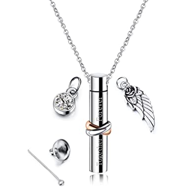 ANAZOZ Forever in My Heart Carved Locket Cremation Urn Necklace Angel Wing Zirconia Keepsake Memorial Pendant Necklace for Ashes with Custom Engraved