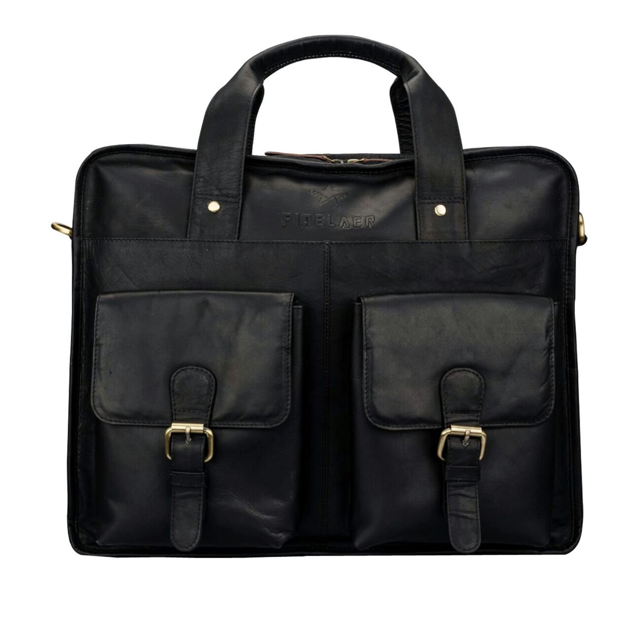 Finelaer Leather Laptop Computer Messenger Bag with Pockets for laptops Macbooks 14'' Black by FINELAER (Image #1)