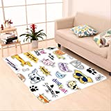 Sophiehome skid Slip rubber back antibacterial  Area Rug fashion patch badges cat and dog set set of stickers pins patches and handwritten notes 487599637 Home Decorative