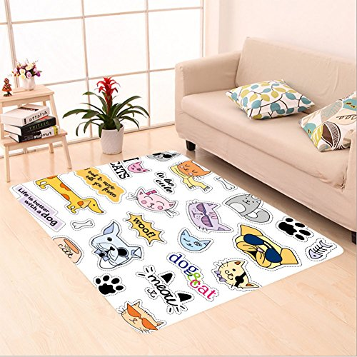 Sophiehome skid Slip rubber back antibacterial  Area Rug fashion patch badges cat and dog set set of stickers pins patches and handwritten notes 487599637 Home Decorative by sophiehome