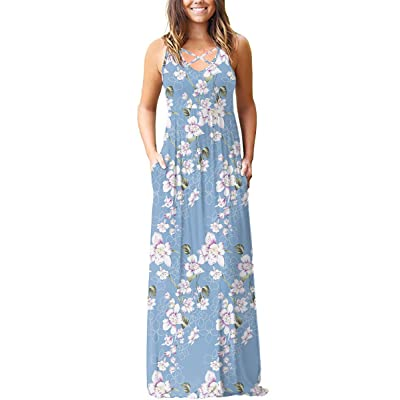 LILBETTER Women's Sleeveless Racerback Loose Plain Maxi Dresses Casual Long Dresses with Pockets at Women's Clothing store