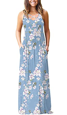 a54e613f02d3 LILBETTER Women's Sleeveless Racerback and Long Sleeve Loose Plain Maxi  Dresses Casual Long Dresses with Pockets