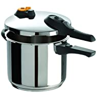 T-fal Stainless Steel Pressure Cooker, Pressure Canner with Pressure Control, 15 PSI Settings, 6.3 Quart, Silver