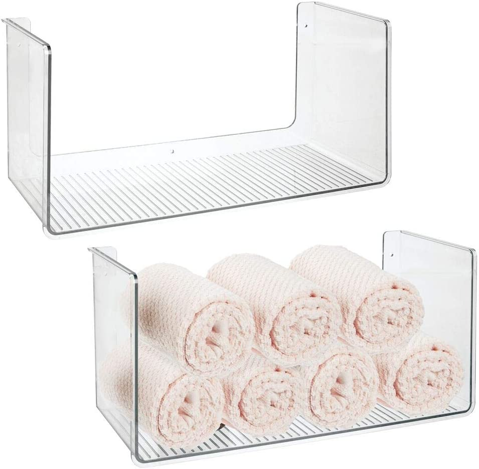 mDesign Plastic Wall Mount Towel Storage Organizer Display Shelf - Hang in Bathroom, Kitchen, Entryway, Hallway, Mudroom, Bedroom, Laundry Room - Kitchen Towels, Hand Towels, 2 Pack - Clear