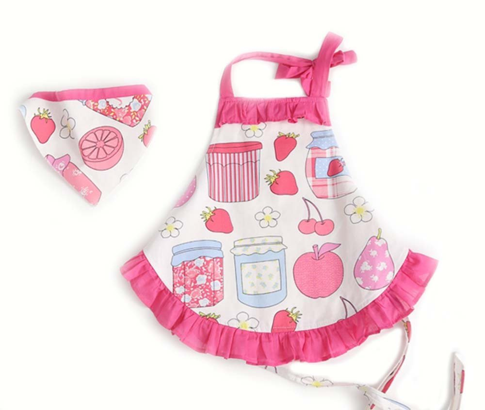 CRB Childrens Bakeware Chef Owl Girls Toddler Kids Apron with Matching Cute Headscarf Outfit Set (3T to 4T (Apples))