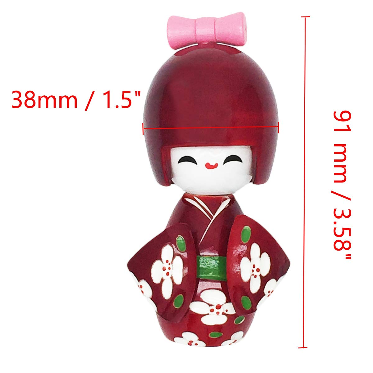 COMOK Blue Japanese Floral Kimono Sweet Smiling Girl Wooden Kokeshi Doll Toy for House /& Office Decoration Handicraft Ornaments 3.58 x 1.5 3.58 x 1.5