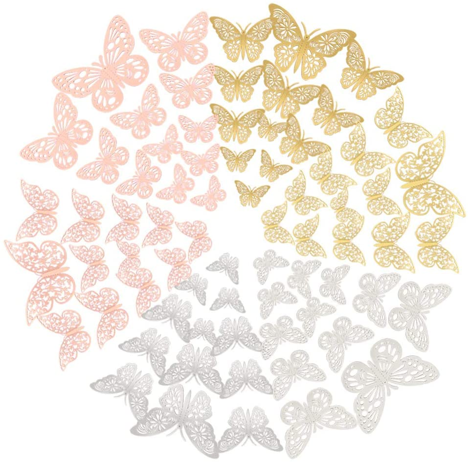 FOMTOR 3D Butterfly Wall Decor Paper Gold Butterflies Butterfly Cake Decorations for Cake Decorating Wall Decor Wedding Party Decorations 72 pcs