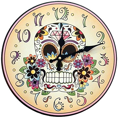 1 X Day Of The Dead Clock Skeleton Flowers Halloween Mexican Tradition Artwork ()