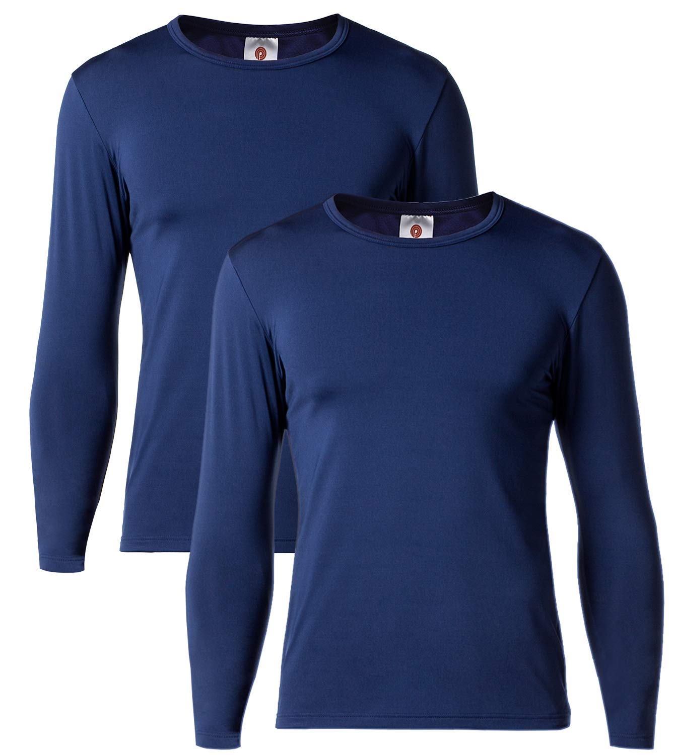 LAPASA Men's Lightweight Thermal Underwear Tops Fleece Lined Base Layer Long Sleeve Shirts 2 Pack M09 (X-Large, Navy) by LAPASA