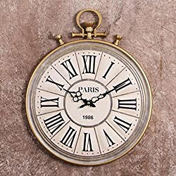 Nclon Retro Round Wall Clock,Pocket Watches Metal Creative Roman Numerals Quartz Accurate Wall Clock White 49 40 4cm