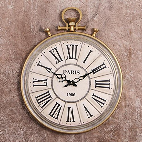 Nclon Retro Round Wall Clock,Pocket Watches Metal Creative Roman Numerals Quartz Accurate Wall Clock White 49 40 - Watch Roman Numeral Pocket White