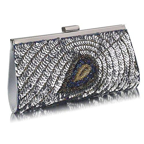 Trendstar las mujeres embrague bolsas De Damas Célébrité De La pluma, embrague-Bolso De mano - plata