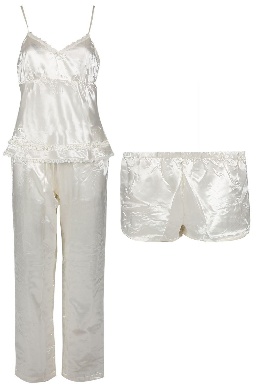 Oops Outlet Be Jealous Womens Satin 3 Piece Pyjama Loungewear Shorts Trousers PJ Nightwear at Amazon Womens Clothing store: