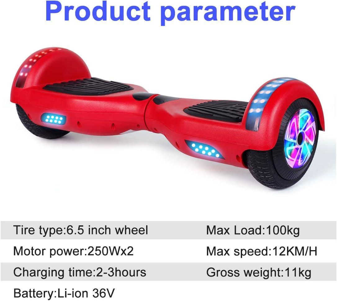 6.5 Self Balancing Scooter mit Bluetooth Elektro Scooter LED Lights Huanhui Hoverboard Elektro Skateboard f/ür Kinder