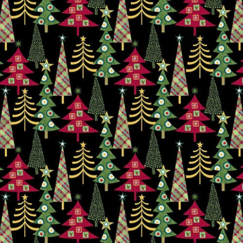 Holly Jolly Christmas Trees Cotton Fabric by Studio E
