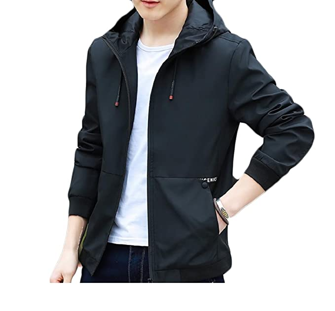dbe9d5b4fbfc Coolred-Men Zip Everyday Outdoor Coats Casual Hooded Thin Short Bomber  Jacket Black S