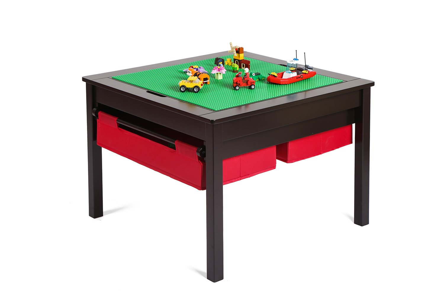 UTEX 2 In 1 Kids Construction Lego Table with Storage Drawers and ...