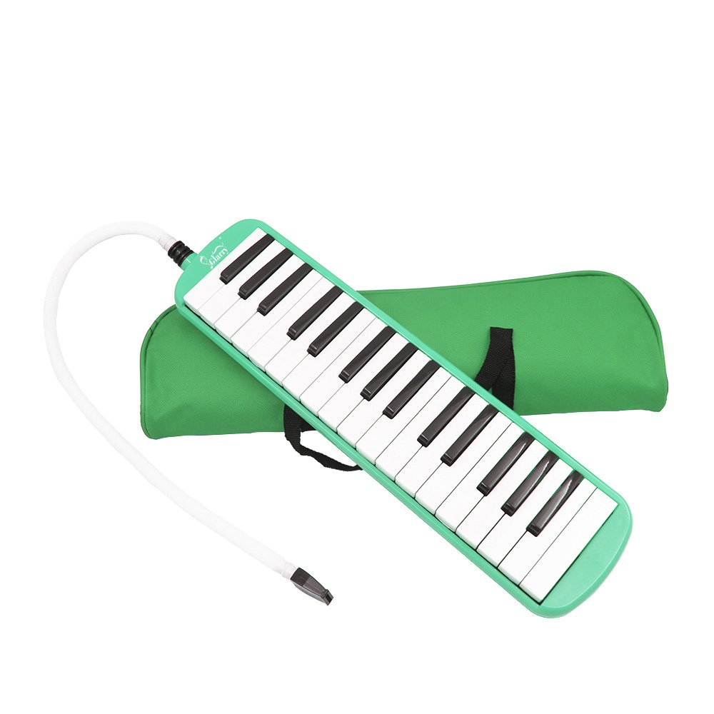 Kuyal 32 Key Melodica, Piano Style Melodica Keyboard, Musical Education Instrument For Music Lovers Beginners And Children With Mouthpiece & Hose & Bag (Green)