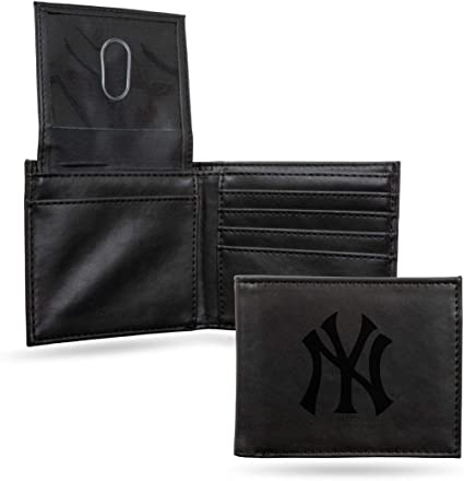 Rico Industries Yankees Laser Engraved Brown Trifold Wallet