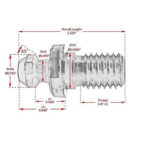 "CAT40 Pull Stud Retention Knob 45° for Mazak CNC 5//8/""-11 Thread 10Pcs USA"